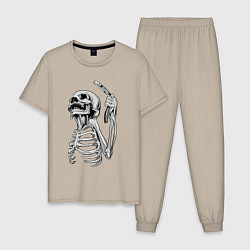 Пижама хлопковая мужская Скелет с бритвой цвета миндальный — фото 1