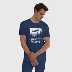 Пижама хлопковая мужская BttF: I Want bo believe цвета тёмно-синий — фото 2