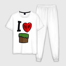 Пижама хлопковая мужская I love Dilleron цвета белый — фото 1
