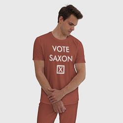 Пижама хлопковая мужская Vote Saxon цвета кирпичный — фото 2