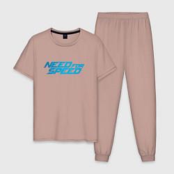 Пижама хлопковая мужская Need for speed цвета пыльно-розовый — фото 1