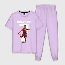 Пижама хлопковая мужская Ronaldo 07 цвета лаванда — фото 1