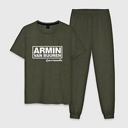 Пижама хлопковая мужская Armin van Buuren цвета меланж-хаки — фото 1
