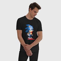 Пижама хлопковая мужская Sonic цвета черный — фото 2