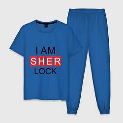Пижама хлопковая мужская I am Sherlock цвета синий — фото 1