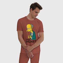 Пижама хлопковая мужская Mr. Burns: I get money цвета кирпичный — фото 2