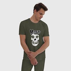 Пижама хлопковая мужская Отбросы цвета меланж-хаки — фото 2
