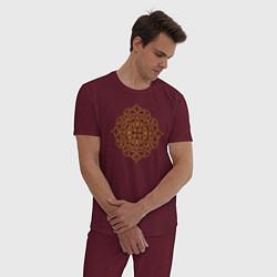 Пижама хлопковая мужская Золотой цветок цвета меланж-бордовый — фото 2