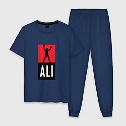 Пижама хлопковая мужская Ali by boxcluber цвета тёмно-синий — фото 1