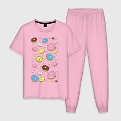 Пижама хлопковая мужская Пончики цвета светло-розовый — фото 1