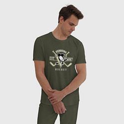 Пижама хлопковая мужская Pittsburgh Penguins: Est.1967 цвета меланж-хаки — фото 2