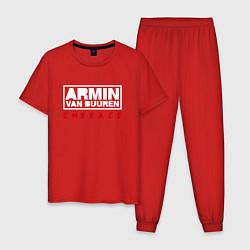 Пижама хлопковая мужская Armin van Buuren: Embrace цвета красный — фото 1