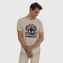 Пижама хлопковая мужская Street workout цвета миндальный — фото 2