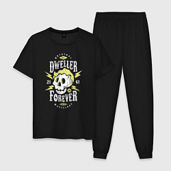 Пижама хлопковая мужская Dweller Forever цвета черный — фото 1