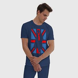 Пижама хлопковая мужская Sherlock Holmes Union Jack цвета тёмно-синий — фото 2
