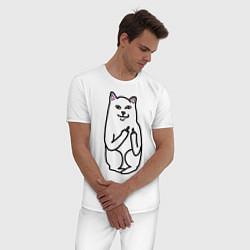 Пижама хлопковая мужская Кот показывающий лапки цвета белый — фото 2