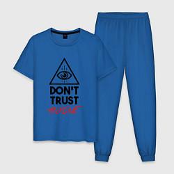 Пижама хлопковая мужская Dont trust anyone цвета синий — фото 1