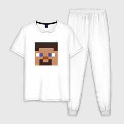 Пижама хлопковая мужская Minecraft: Man Face цвета белый — фото 1