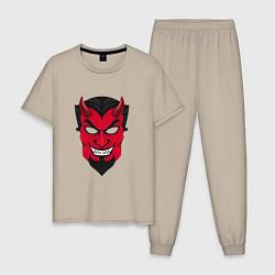 Пижама хлопковая мужская Маска Дьявола цвета миндальный — фото 1