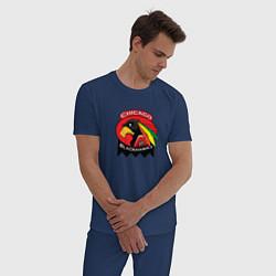 Пижама хлопковая мужская Chicago Blackhawks Hockey цвета тёмно-синий — фото 2