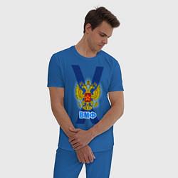 Пижама хлопковая мужская ВМФ цвета синий — фото 2