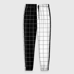Брюки на резинке мужские Black and White цвета 3D-принт — фото 1