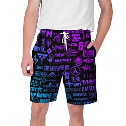 Шорты на шнурке мужские Неоновые лого игр цвета 3D — фото 1