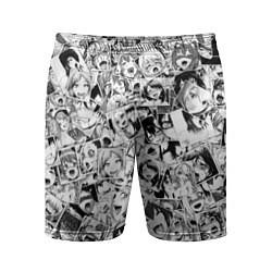 Шорты спортивные мужские Ahegao: Black & White цвета 3D-принт — фото 1