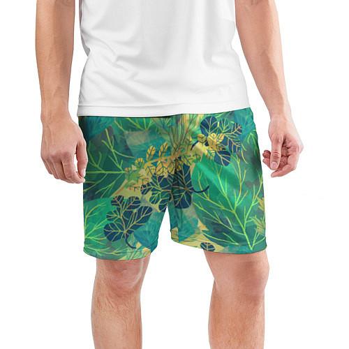 Мужские спортивные шорты Узор из листьев / 3D – фото 3