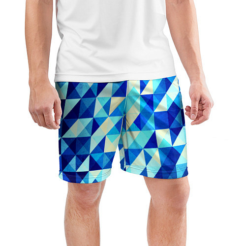 Мужские спортивные шорты Синяя геометрия / 3D – фото 3