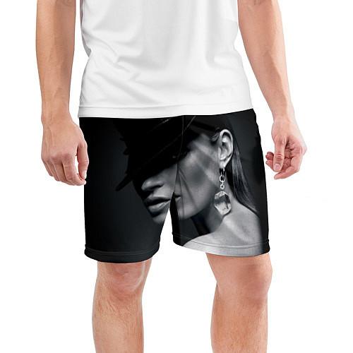 Мужские спортивные шорты Девушка в шляпе / 3D – фото 3