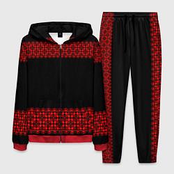 Костюм мужской Славянский орнамент (на чёрном) цвета 3D-красный — фото 1