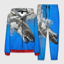 Костюм мужской Акула под водой цвета 3D-красный — фото 1