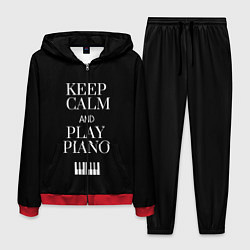 Костюм мужской Keep calm and play piano цвета 3D-красный — фото 1