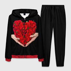 Костюм мужской Сердце роз в руках цвета 3D-красный — фото 1