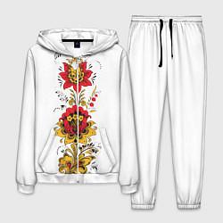 Костюм мужской Хохлома: цветы цвета 3D-белый — фото 1