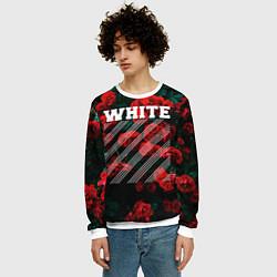 Свитшот мужской Off-White: Roses Fashion цвета 3D-белый — фото 2