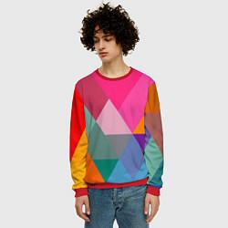 Свитшот мужской Разноцветные полигоны цвета 3D-красный — фото 2