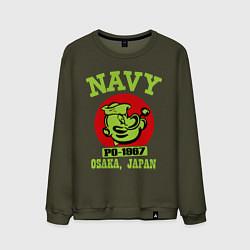 Свитшот хлопковый мужской Navy: Po-1967 цвета хаки — фото 1