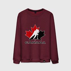Свитшот хлопковый мужской Canada цвета меланж-бордовый — фото 1