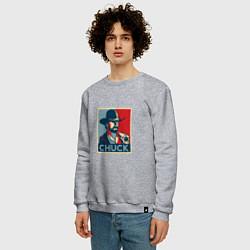 Свитшот хлопковый мужской Chuck Poster цвета меланж — фото 2