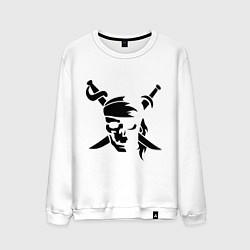 Свитшот хлопковый мужской Пиратский знак цвета белый — фото 1