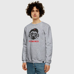 Свитшот хлопковый мужской Obey the pug цвета меланж — фото 2
