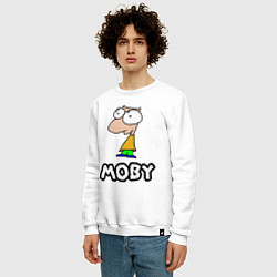 Свитшот хлопковый мужской Moby цвета белый — фото 2