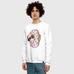 Свитшот хлопковый мужской Мопс-пончик цвета белый — фото 2