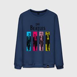 Свитшот хлопковый мужской Walking Beatles цвета тёмно-синий — фото 1