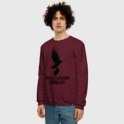 Свитшот хлопковый мужской Hollywood Undead цвета меланж-бордовый — фото 2
