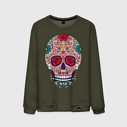 Свитшот хлопковый мужской Oldschool skull цвета хаки — фото 1