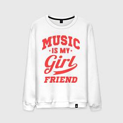 Свитшот хлопковый мужской Music is my girlfriend цвета белый — фото 1