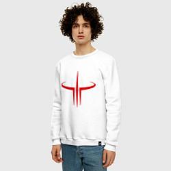 Свитшот хлопковый мужской Quake logo цвета белый — фото 2